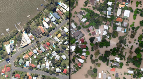 The functionality really helps you see the before/after - aerial photos of the Brisbane floods - taken in flyovers on January 13 and January 14.