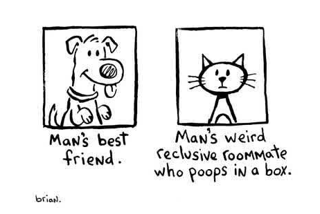 Men are like cats women are like dogs - comic (by Brian)